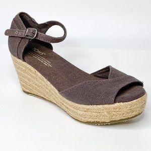 Toms Linen Woven Midsole Platform Wedge Sandal